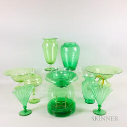 Nineteen Green Art Glass Items