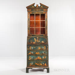 Georgian-style Japanned Secretary Bookcase