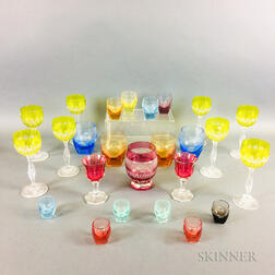 Twenty-five Mostly Moser Colored Glass Tableware Items