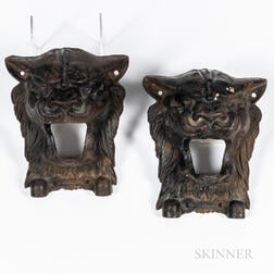Two Cast Iron Architectural Lion Fittings