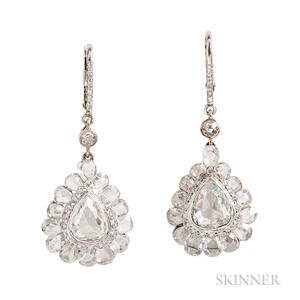 18kt White Gold and Rose-cut Diamond Earrings