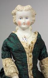 Large Fancy Parian Shoulder Head Doll with Molded Blouse