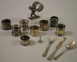 Group of Silver and Silver Plated Napkin Rings and Other Material