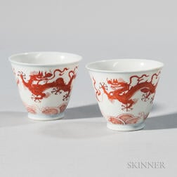 "Near Pair of Iron Red ""Dragon"" Cups"