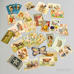 Group of Sewing-related Trade Cards