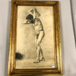 Framed Drawing of a Male Nude