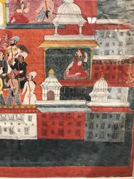 Painting Depicting Krishna Receiving a Garland