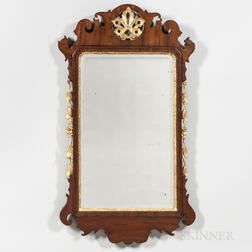 Georgian-style Mahogany-veneered and Parcel-gilt Mirror