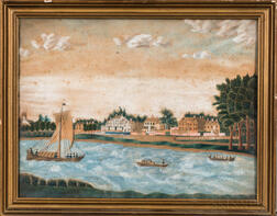 American School, Mid-19th Century      Shore Scene with Large Houses