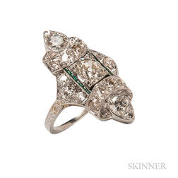 Art Deco Platinum and Diamond Navette Ring