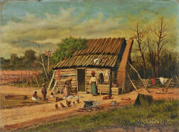 William Aiken Walker (American, 1838-1921)      Sharecroppers' Cabin with Family