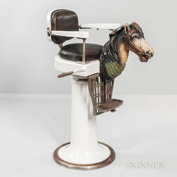 Child's Barber Chair with Carved and Painted Horse Head