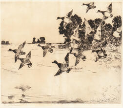 Frank Weston Benson (American, 1862-1951)    Ducks over a Marsh
