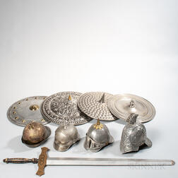 Four Tin and Brass Odd Fellows Helmets, Four Tin and Brass Shields, and a Wooden Sword
