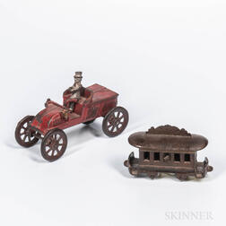 Cast Iron Car and Trolley