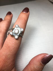 Art Deco Platinum, Diamond, and Onyx Ring