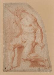 Bolognese School, 17th Century      Fragmentary Drawing of a Male Nude with Right Arm Raised