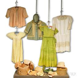 Group of Vintage Children's Clothing and Bonnets