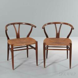 Two Wishbone-style Chairs After Hans Wegner