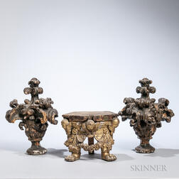 Three Continental Carved Giltwood Fragments