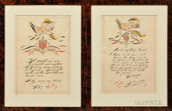 Two Framed Patriotic Calligraphy Drawings
