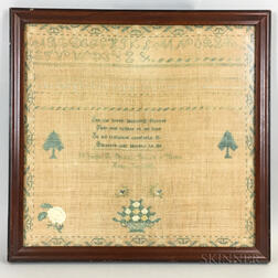 "Framed ""Elizabeth Bell"" Needlework Sampler"