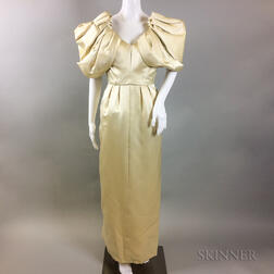 Vintage Jacqueline De Ribes Cream Silk Evening Gown