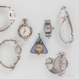Two Enameled Pendant Watches and Five Lady's Cocktail Watches