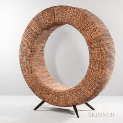 Large Woven Fiber Ring Chair