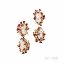 Barbara Anton 18kt Gold, Baroque Pearl, and Ruby Earclips