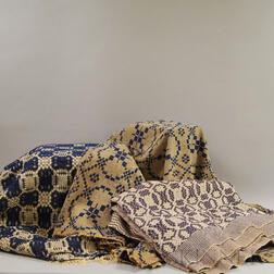 """Three Woven """"Chariot Wheels"""" Coverlets"""