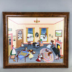 Framed Marie Fox Oil on Canvas The Sewing Lesson