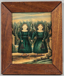 American School, Early 19th Century      Portrait of Twin Girls, Mary and Nancy Kay