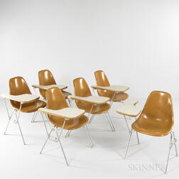Six Charles and Ray Eames for Herman Miller Shell Chairs with Desks
