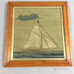 Framed Woolwork Picture of a French Sailboat