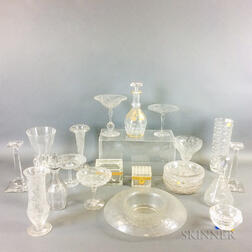 Twenty Colorless Glass Tableware Items