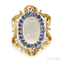 18kt Gold, Moonstone Cameo, and Sapphire Pendant/Brooch