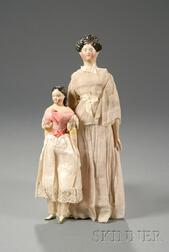 Two Papier-mache Milliner's Model Type Dolls