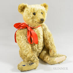 Large Articulated Champagne Mohair Teddy Bear