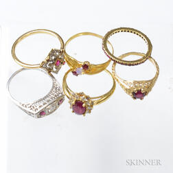 Six Gold and Ruby Rings
