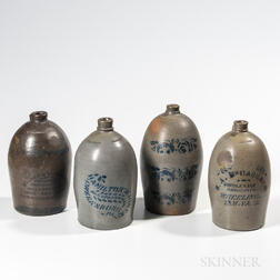 Four Cobalt-decorated Stoneware Advertising Jugs