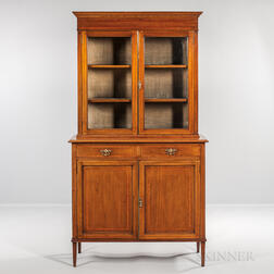 Georgian-style Mahogany and Satinwood-inlaid Bookcase
