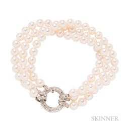 18kt Gold, Cultured Pearl, and Diamond Bracelet, Tiffany & Co.