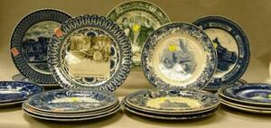 Twenty Wedgwood and Royal Doulton Blue and White Transfer Decorated Plates.