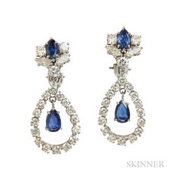 Platinum, Sapphire, and Diamond Earclips