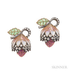 18kt Gold, Plique-a-Jour Enamel, Ruby, and Diamond Earrings, Evelyn Clothier