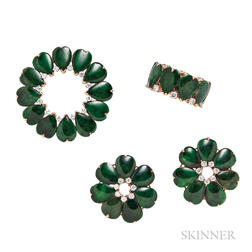 14kt Gold, Jade, and Diamond Suite, Shreve, Crump & Low Co.