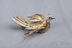 14kt Bicolor Gold and Diamond Swallow Pin