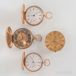 Three 18kt Gold Key-wind Watches and a Dial and Mechanism