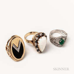 Three 14kt Gold Gem-set Rings